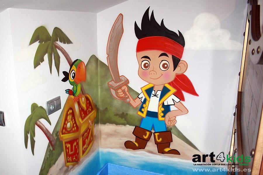 Habitación temática-Mural pintado Jake y los piratas