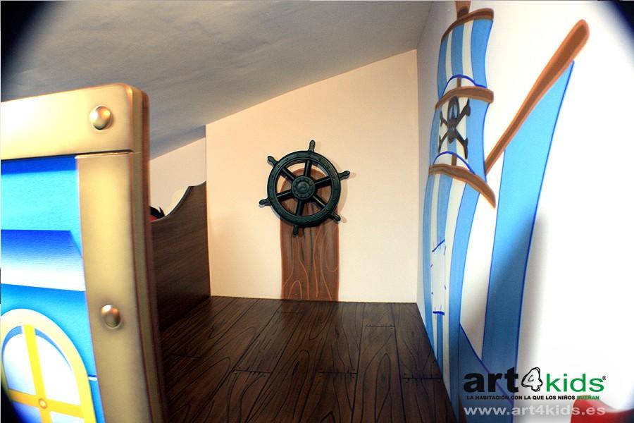 Habitación temática-Mural pintado Jake y los piratas 2