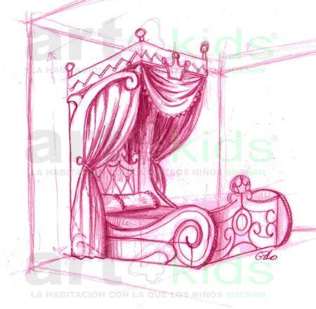 Boceto cama de princesa