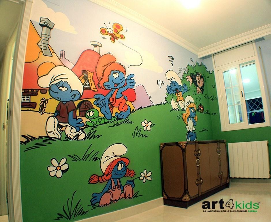 habitación temática pitufos