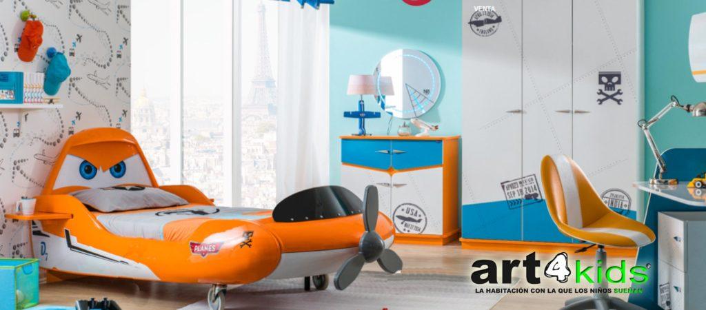 habitación temática aviones cars