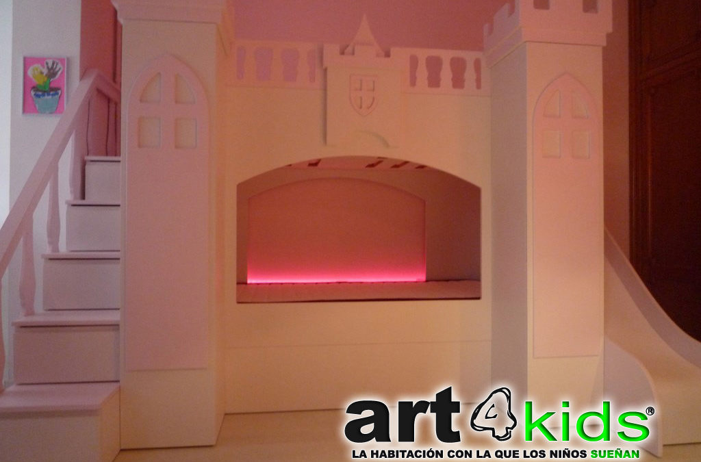 Castillo de princesa color rosa palo