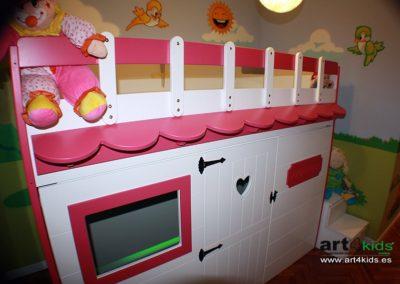 cama-habitacion-tematica-infantil-casita-pajaritos