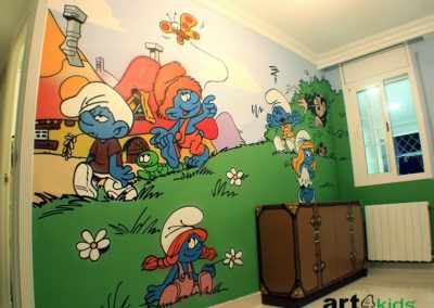habitacion-tematica-mural-infantil-pitufos